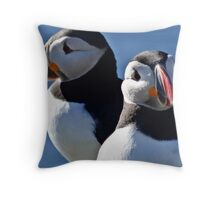 Puffins together Throw Pillow