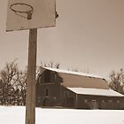 Basketball hoop in front of an old barn by PhotoCrazy6