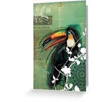 Toucan- Antique Plate- Mixed Media Greeting Card