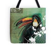 Toucan- Antique Plate- Mixed Media Tote Bag