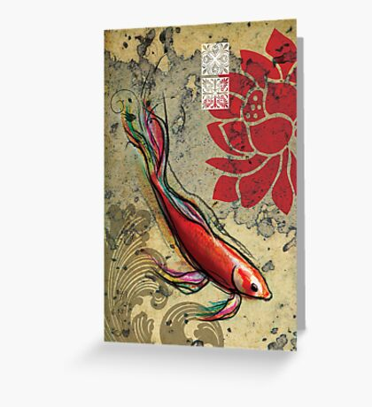 The Lucky Fish- Mixed Media Greeting Card