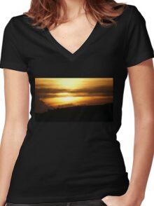 Setting Sun Over Flag Women's Fitted V-Neck T-Shirt