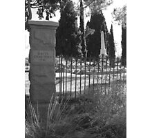 Cemetery gate in black and white Photographic Print