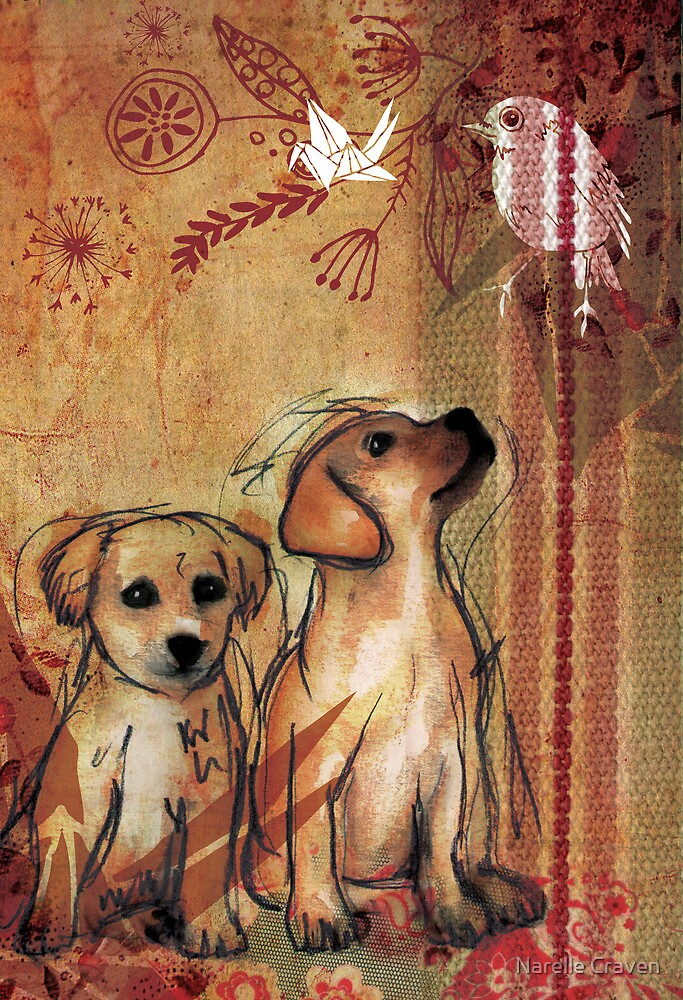 Two Puppies- Mixed Media by Narelle Craven