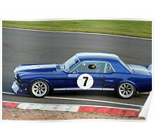 Blue Sixties Ford Mustang Poster