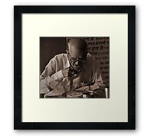 OLDMAN EATING FOOD Framed Print