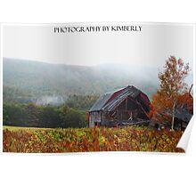 misty morning barn Poster