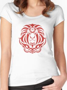 Zodiac Sign Leo Red Women's Fitted Scoop T-Shirt