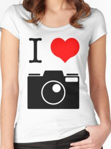 I Heart Camera no Label Women's Fitted Scoop T-Shirt