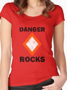 Danger Rocks Nautical Signage Women's Fitted Scoop T-Shirt