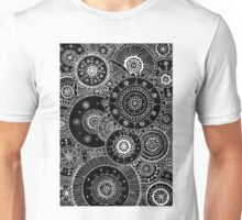 Lacy White Mandalas on Black Unisex T-Shirt