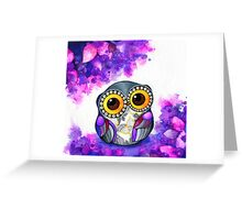 Owl in Purple Blossoms Greeting Card