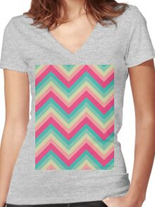 Soft Summer Chevrons Women's Fitted V-Neck T-Shirt