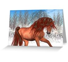 Colour in Midwinter .. a chestnut horse Greeting Card