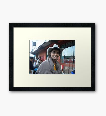 cow boy smile Framed Print