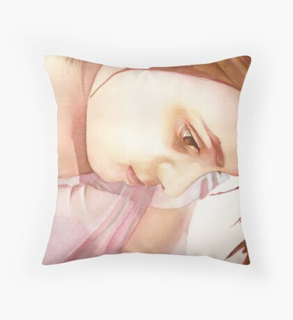 Homework, watercolor on paper Throw Pillow