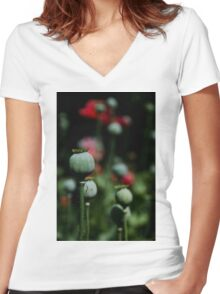 Opium Seeds Women's Fitted V-Neck T-Shirt