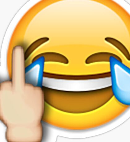 Middle Finger Laughing Emoji Sticker