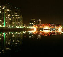 Salford Quays at night. by cheekybuster