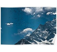 Birds flocking and mountain Poster