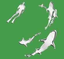 Chrome Style Nautical Diver N Sharks Applique Kids Clothes