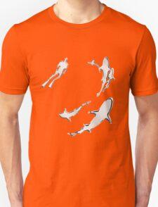 Chrome Style Nautical Diver N Sharks Applique T-Shirt