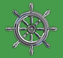 Chrome Style Nautical Wheel Applique Kids Clothes