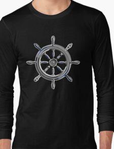 Chrome Style Nautical Wheel Applique Long Sleeve T-Shirt