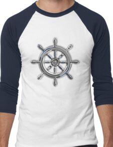 Chrome Style Nautical Wheel Applique Men's Baseball ¾ T-Shirt