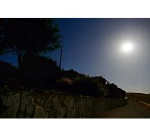 Stone Wall Under Moonlight Photographic Print