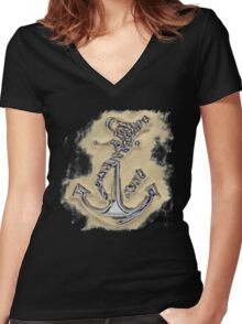 Chrome Anchor in Sand Women's Fitted V-Neck T-Shirt