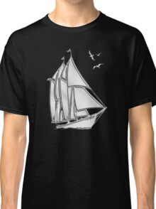 Chrome Style Nautical Sail Boat Applique Classic T-Shirt