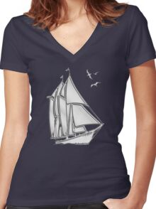 Chrome Style Nautical Sail Boat Applique Women's Fitted V-Neck T-Shirt