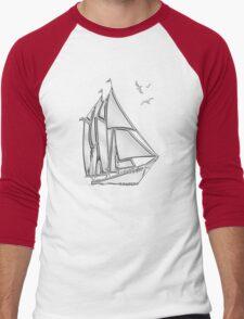 Chrome Style Nautical Sail Boat Applique Men's Baseball ¾ T-Shirt