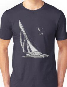 Chrome Style Nautical Sail Boat Applique Unisex T-Shirt