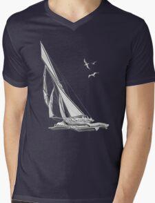 Chrome Style Nautical Sail Boat Applique Mens V-Neck T-Shirt