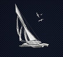 Chrome Style Nautical Sail Boat Applique by Garaga