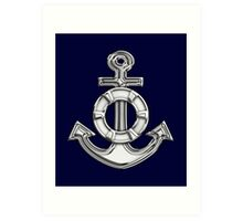 Chrome Style Nautical Life Anchor Applique Art Print