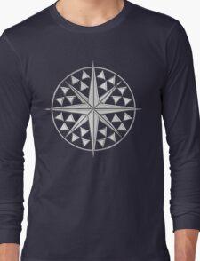 Chrome Style Nautical Compass Star Long Sleeve T-Shirt