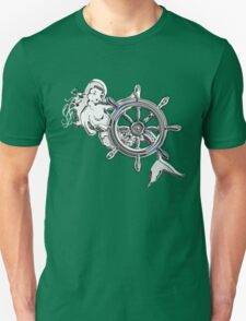 Chrome Style Nautical Mermaid Applique Unisex T-Shirt