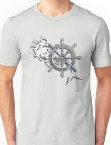 Chrome Style Nautical Mermaid Applique Unisex T-Shirt