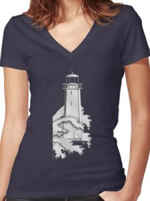 Nautical Chrome Mighty Lighthouse Women's Fitted V-Neck T-Shirt