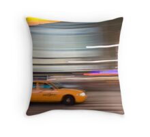 NYC Taxi Blurred Throw Pillow