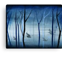 Witches Flying Low Through the Forest Canvas Print