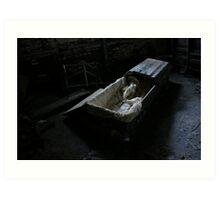 Coffin in asylum basement Art Print