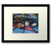 Eggbert really came out of his shell on the dancefloor Framed Print