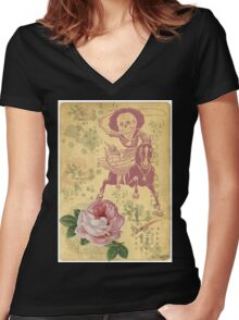 Day Of The Dead Cowgirl Cinco De Mayo Women's Fitted V-Neck T-Shirt