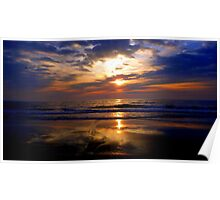 rising sun, beach, skyscape, reflections  Poster