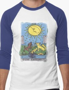 The Moon Tarot Card Blue Men's Baseball ¾ T-Shirt