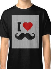 I Love Mustache in Knitting Motif Style Classic T-Shirt